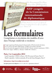 Image de l'affiche du XIIIe congrès de la commission internationale de diplomatique (Paris, septembre 2012)